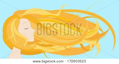 Young woman face with long blond hair