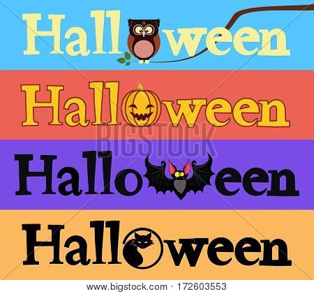 Halloween banners. Vector set of 4 banners