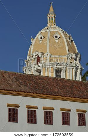 Dome of the historic Iglesia de San Pedro Claver in the Spanish colonial city of Cartagena in Colombia.