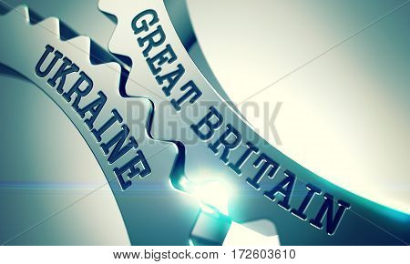 Great Britain Ukraine on the Mechanism of Metallic Cogwheels. Communication Concept in Industrial Design. Great Britain Ukraine on Metal Cogwheels, Enterprises Illustration with Lens Effect. 3D.