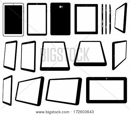 Set of different tablets computer isolated on white