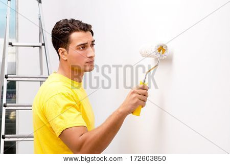 Young man doing home improvements