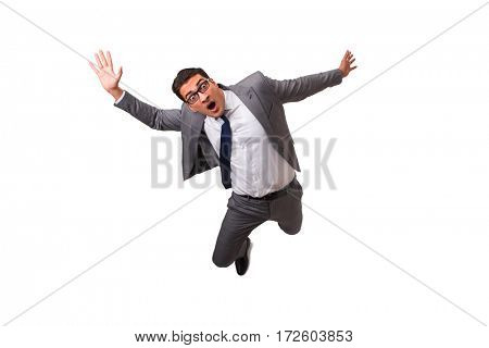Falling businessman isolated on the white background