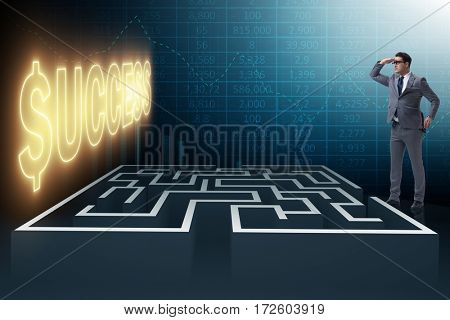 Man facing the maze in business concept