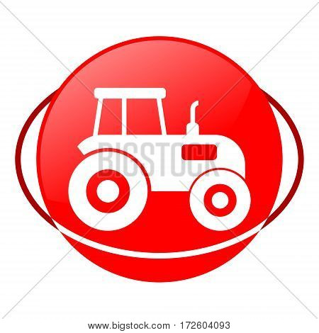 Red icon, tractor vector illustration on white background