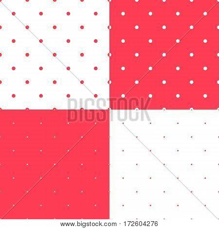 Polka dot pattern. Retro vector seamless set background