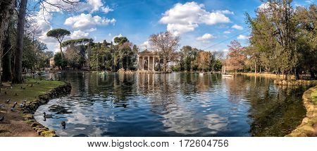 Temple of Aesculapius in Villa Borghese Gardens Rome Italy
