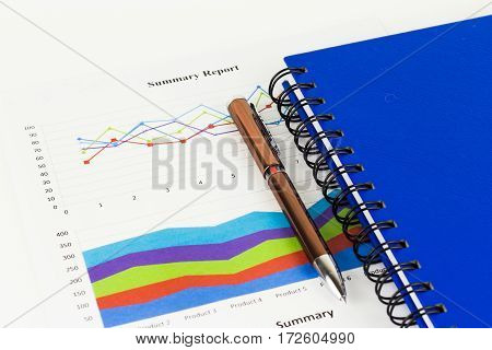 Book savings finances and analysis of the market concept.