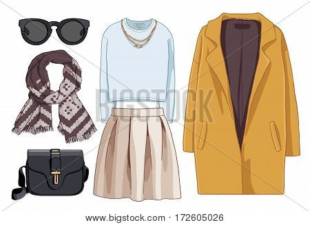 Lady fashion set of autumn, winter season outfit. Illustration stylish and trendy clothing. Coat, dress, bag, necklace, accessories, sunglasses, high heel shoes.
