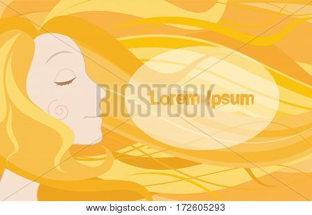 Woman face with long blond hair. Cartoon illustration