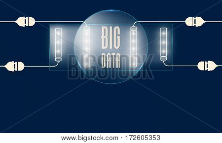 Vector blue glass transparency objects and lights and the words big data