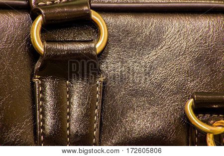 closeup of the fittings on the black leather hand bag