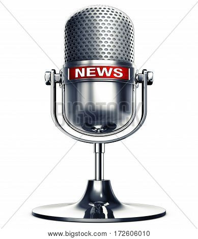 3D rendering of a microphone with a news icon