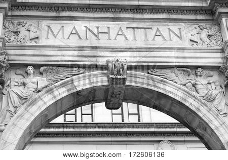 The exterior of a building with Manhattan name in Lower Manhattan (New York).