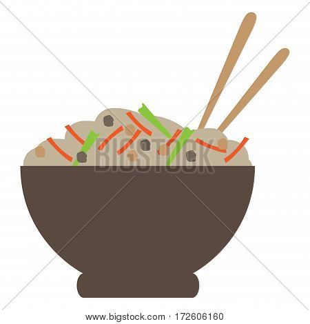 Isolated ramen bowl on a white background, Vector illustration