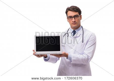 Doctor with laptop isolated on white background