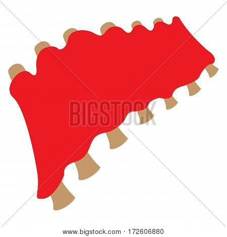 Isolated barbecue ribs on a white background, Vector illustration