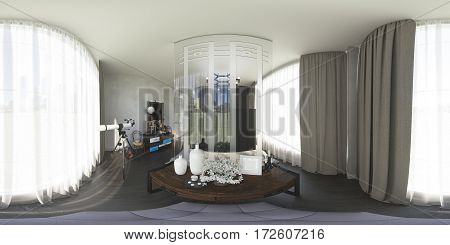 3d illustration spherical 360 degrees, seamless panorama of bedroom interior design. The bedroom is made in grey and brown tones in a modern style with a dressing table, chest of drawers and large windows to the floor.