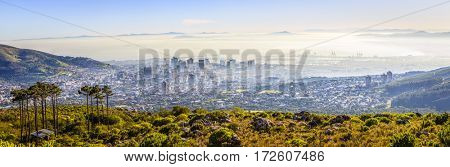 Panoramic aerial view of downtown Cape Town in morning fog