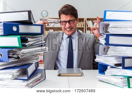 Businessman under stress due to excessive work