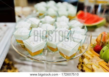 Diferrent Cup Cakes At Wedding Reception Table.