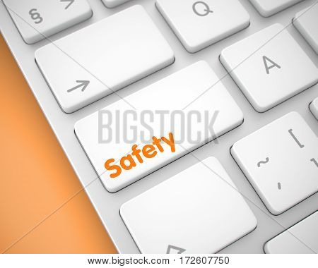 Service Concept: Safety on the Aluminum Keyboard lying on Orange Background. Safety Button on the Keyboard Keys. with Orange Background. 3D Illustration.