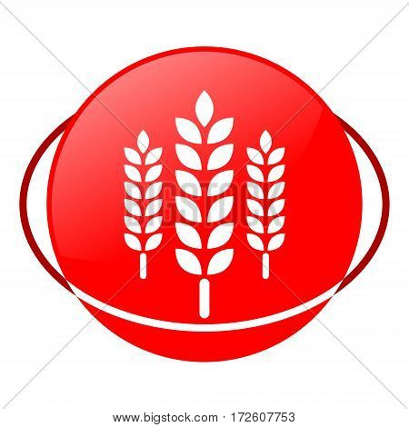 Red icon, wheat vector illustration on white background