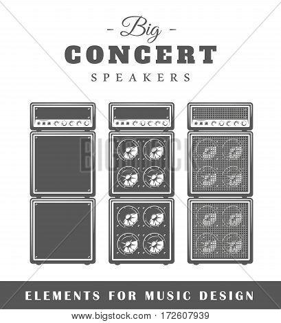 Professional live music speaker isolated on white background. Elements for design. Vector illustration