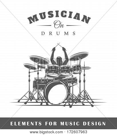 Drummer plays the drums. Isolated on white background. Elements for design. Vector illustration