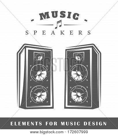 Professional music speaker isolated on white background. Elements for design. Vector illustration