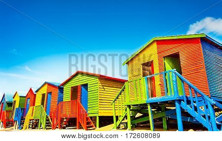 Colorful beach huts on the beach of St.James South Africa