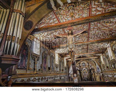 QUITO, ECUADOR, NOVEMBER - 2015 - Interior view of luxury syncretism style baroque church located in Quito Ecuador