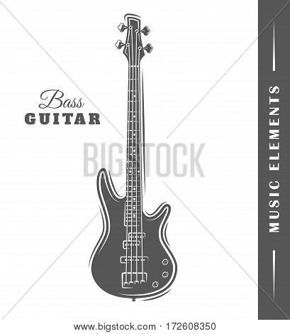 Electric guitar isolated on white background. Element for design. Vector illustration