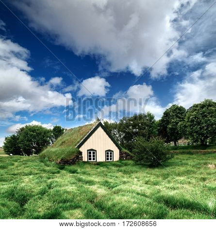 Traditional turf-top church in village Hof, Vatnajokull National Park, Iceland.