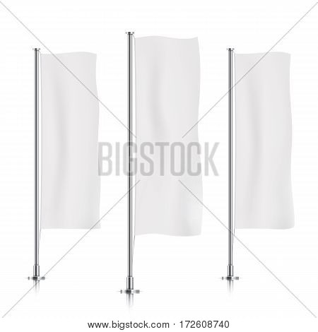 Three white vertical banner flags, standing in a row. Banner flag templates isolated on background. Vertical flags realistic mockup.
