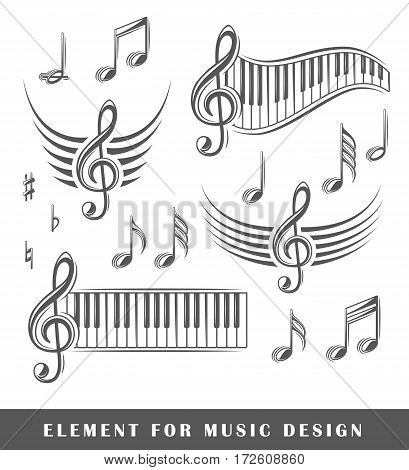 Treble clef and notes isolated on a white background. Design element. Vector illustration