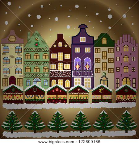 Night vector Winter Christmas urban landscape. Vector illustration.