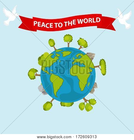 Earth, peace dove with the words Peace - World. Flat design, vector illustration, vector.