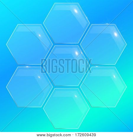 glass pentagon polygon element for disign . glossy banner