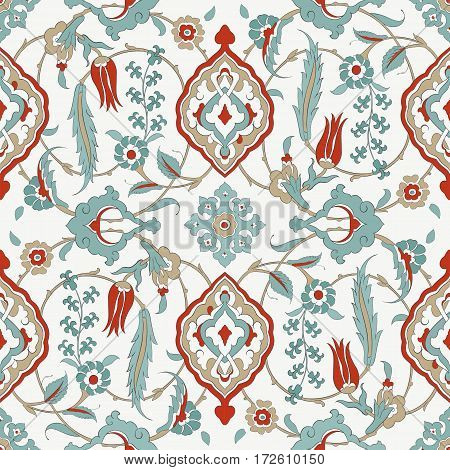 Traditional  Arabic ornament seamless for your design. Floral ornamental seamless pattern  for ceramic tile,  ,  interior decoration, wrapping paper, graphic design and textile. Iznik.