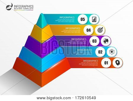 Infographics template. Colorful pyramid concept with options. Vector illustration