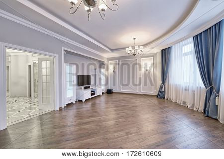 Russia Moscow - Modern interior design living room, urban real estate
