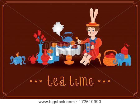 Tea time illustration with a fairy rabbit drinking tea and eating cake. Vector postcard with brown background, kettles, vases, apple pottle, princess frog and Indian elephant. Vintage design