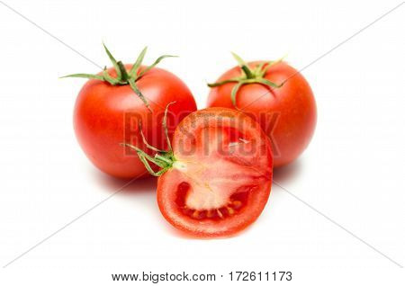 Tomatoes Isolated On White. With Clipping Path.
