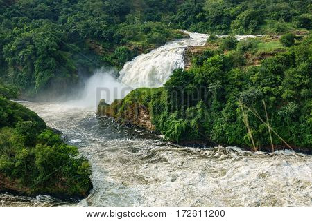 Detailed view of Murchison second Fall in Nilo River, Uganda, bottom view