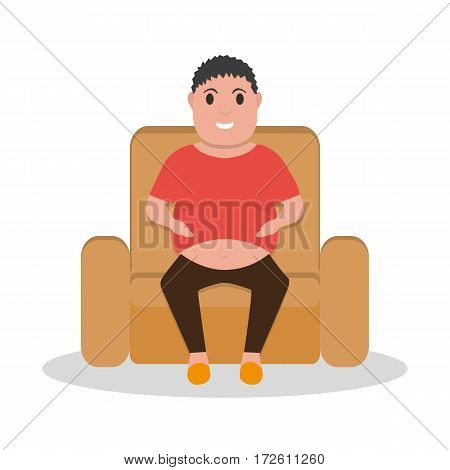 Vector illustration cartoon fat man sitting in a armchair. Isolated white background. Flat style.