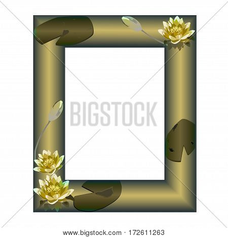 Pale frame with flowers of a water-lily on a green background
