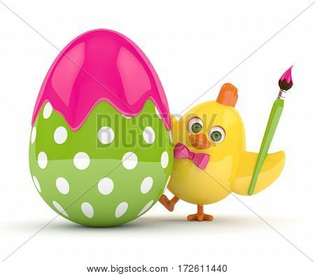 3D Render Of Easter Chick With Egg