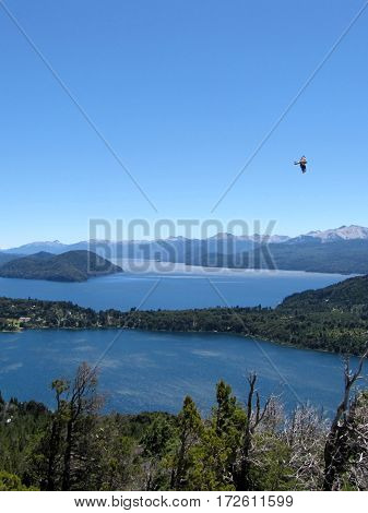 Beautiful landscape full of mountains, lakes and trees in Bariloche, Argentina.