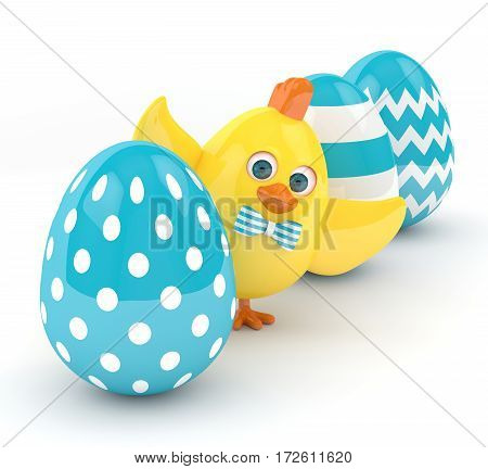 3D Render Of Easter Chick With Eggs